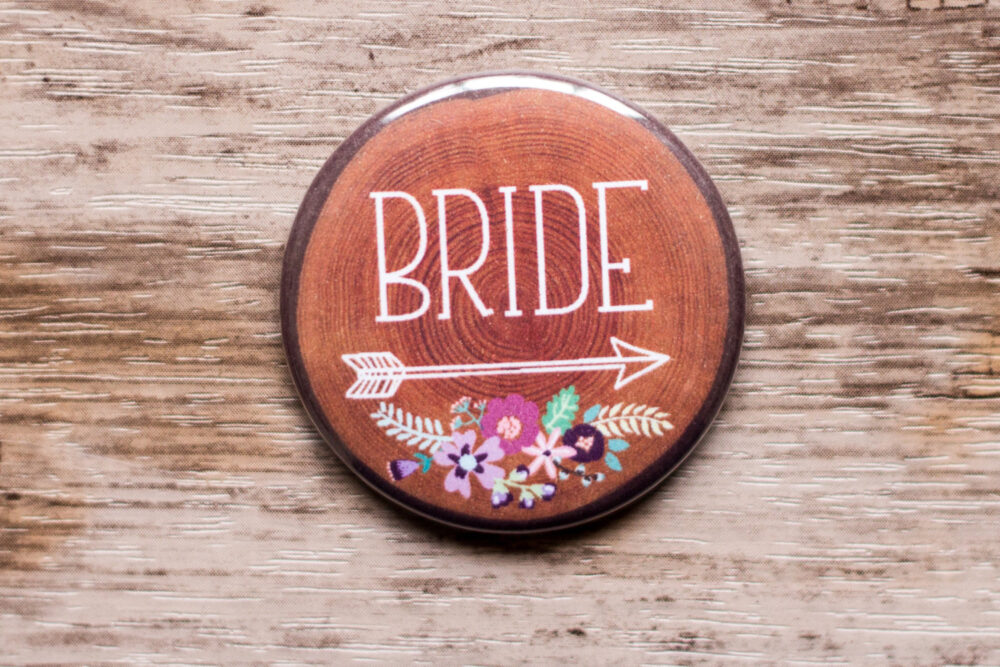 2.25 Inch Large Wedding Pin Wood Slice Look Bride Button, Bridesmaid Badges, Rustic Bridal Shower, Floral Pins, Tribe, Arrow