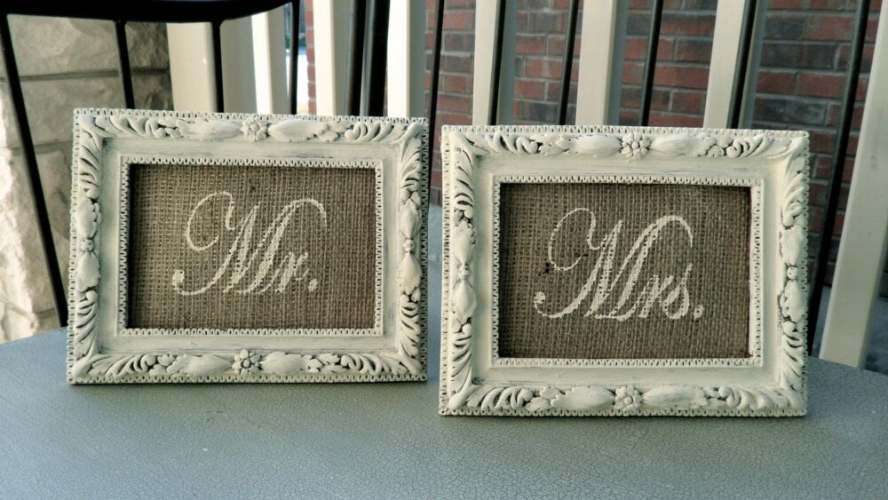"Mr. & Mrs. 4 X 6"" Burlap Wedding Sign Inserts in Shabby Chic Cream - For Head Table Or Place Cards- French Country, Barn, Rustic, Home Decor"