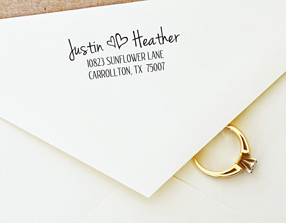 Wedding Address Stamp - For Couples in Love Housewarming Gift