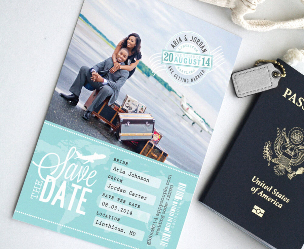 Boarding Pass Destination Wedding Save The Date Photo Card - Custom Travel Ticket Theme With Monogram Stamp