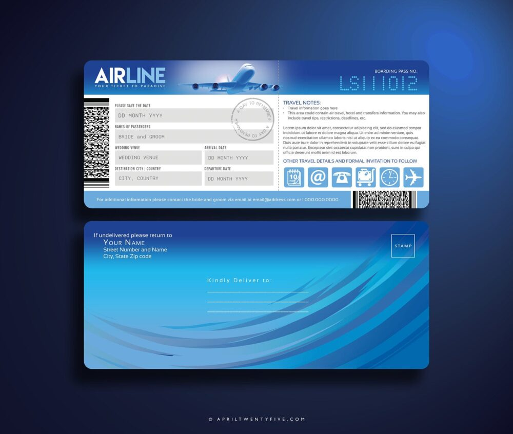 Boarding Pass, Airline Ticket Invitation, Save The Date, Invitation Card, Suite, Plane