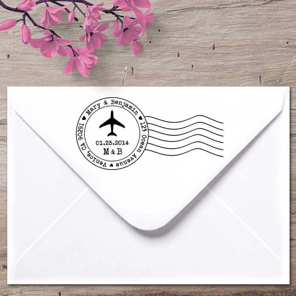 Airmail Custom Address Stamp, Post Marks Airplane Return Destination Wedding Save The Date Stamp