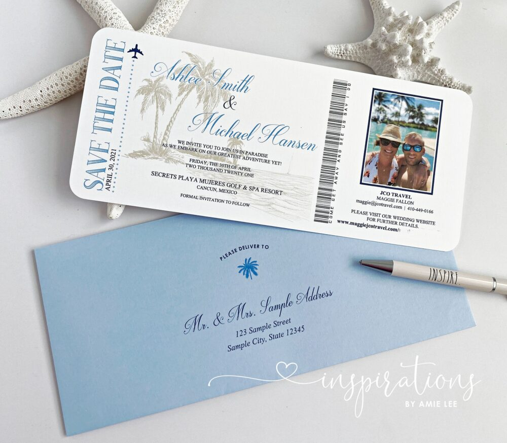 Boarding Pass Save The Dates, Ticket To Paradise, Date, Destination Wedding, Airline Ticket, Airplane, Travel Theme