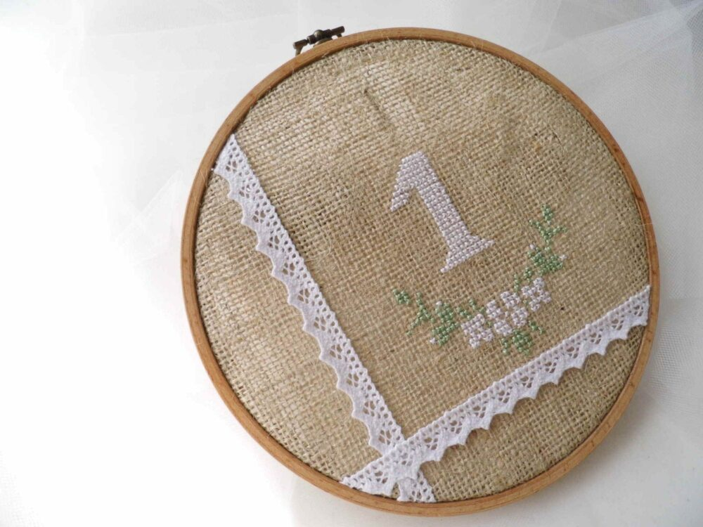 Wedding Table Number, Hoop Embroidery, Hand Embroidered, Rustic Plan, Embroidered Numbers, Burlap & Lace