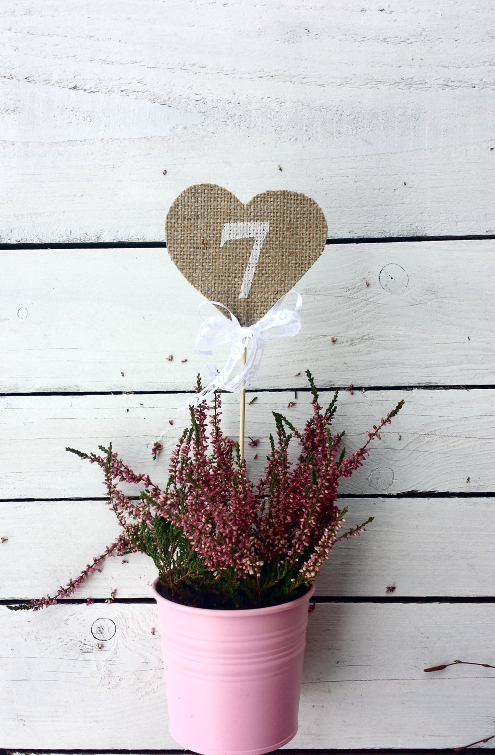 Heart Table Numbers, Burlap Heart Rustic Wedding Numbers