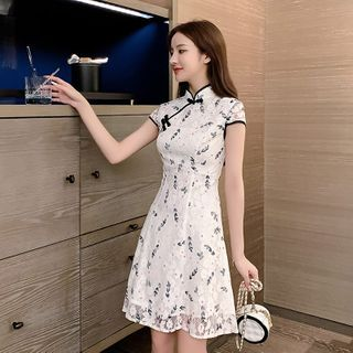 Short-Sleeve Floral Print A-Line Lace Dress