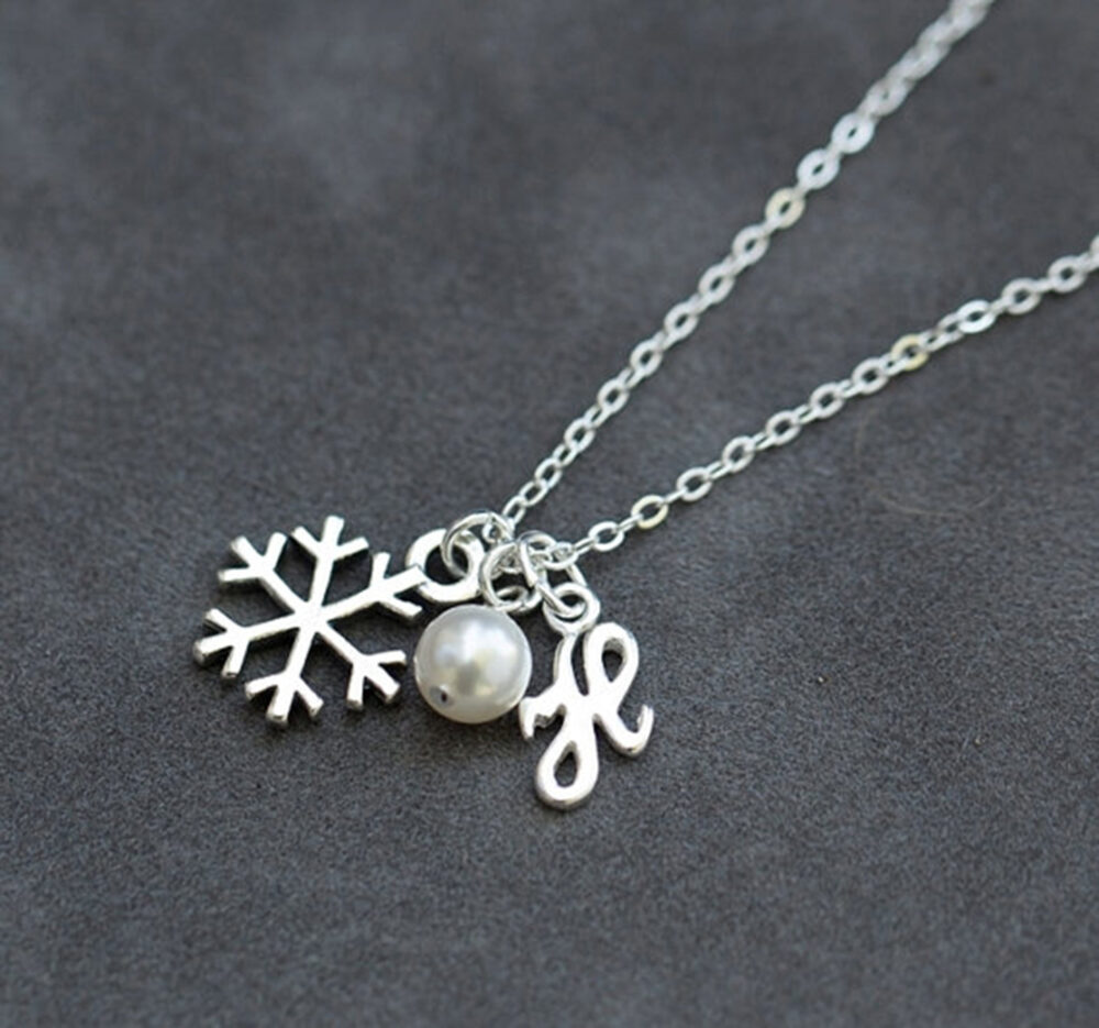 Winter Wedding Bridesmaids Gift, Personalized Snowflake Jewelry, Sterling Silver Initial Necklace With Pearl, Christmas Gift