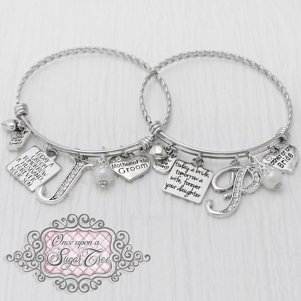 Mother Of Bride Bracelet, Groom Bracelet - Today A Bride, Wedding Gift To Parents, Jewelry-Expandable Bangle