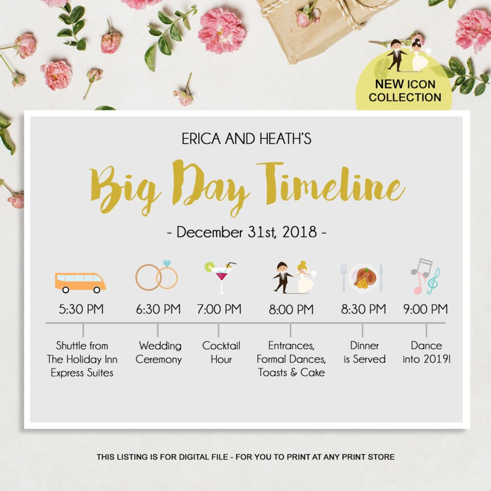 Custom Big Day Timeline Program - Wedding Sign Gift Bag Items Itinerary Timeline Digital File
