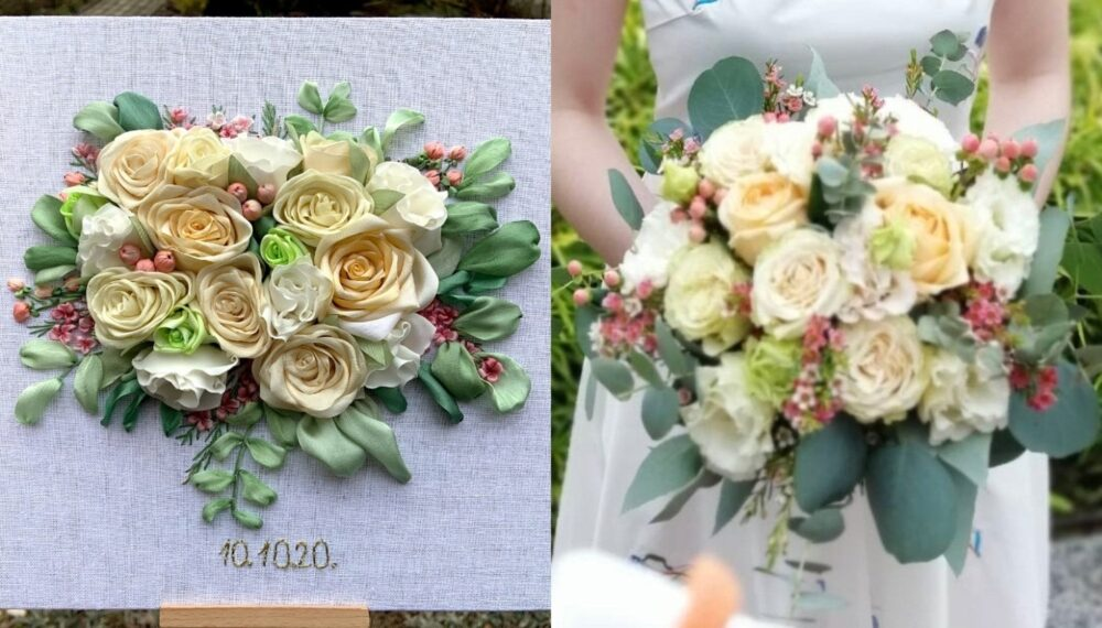 2nd/4Th Anniversary Gift For Wife Custom Wedding Bouquet Portrait Personalized Silk Ribbon Embroidery Bridal