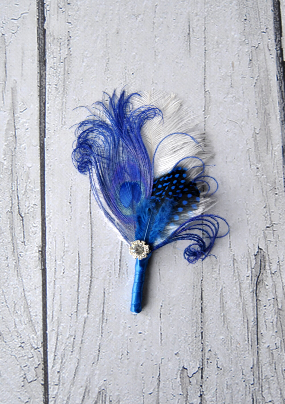 Peacock Wedding Boutonniere Ostrich Feather Blue Green 1920S Groomsmen Boutonnire Groom Boutonniere Button Hole Custom Color Pin