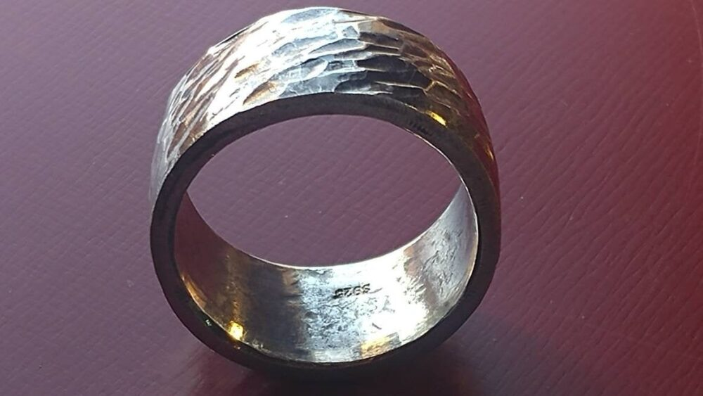 """Antiqued Sterling Silver Viking Dad Ring, Hand Hammered Artisan 100% Made in The Usa, Custom Handmade. Over 22 Grams & 7/8"""" Tall"""