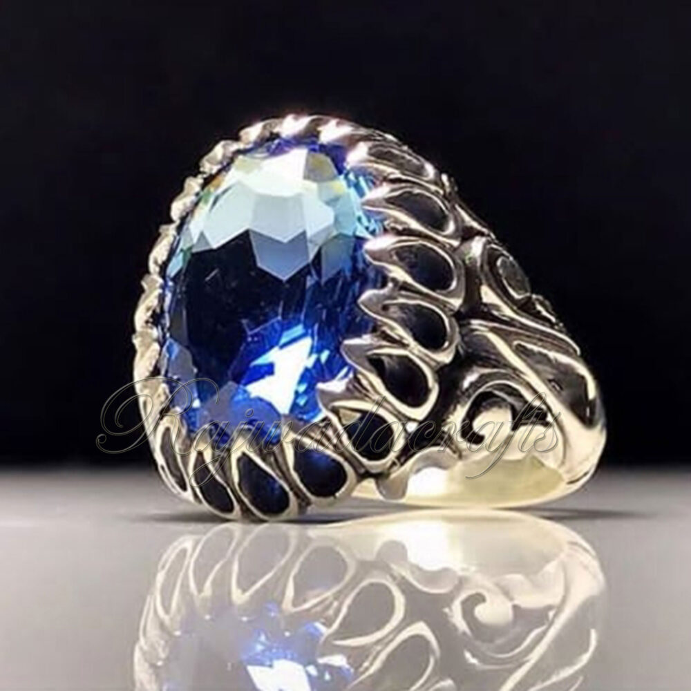 Mens Sapphire Ring 925 Solid Sterling Silver Blue Hydro Men Handmade Art Deco September Birthstone Gift For Him