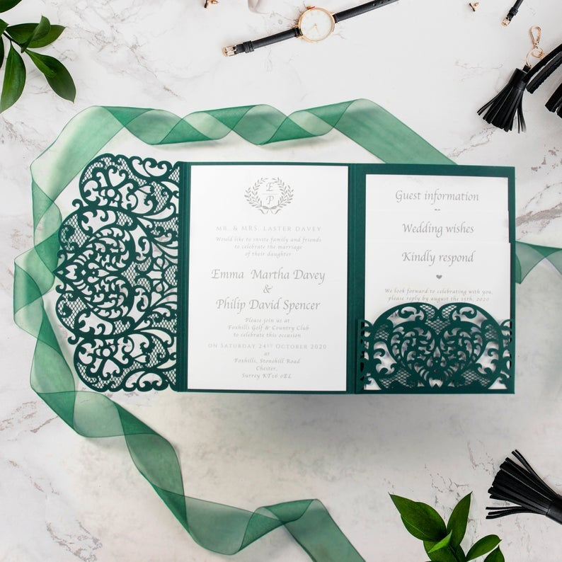Forest Green Laser Cut Wedding Invitations With Envelopes Diy Lace Elegant Kit Printable Template Floral Trifold Invitation Cards