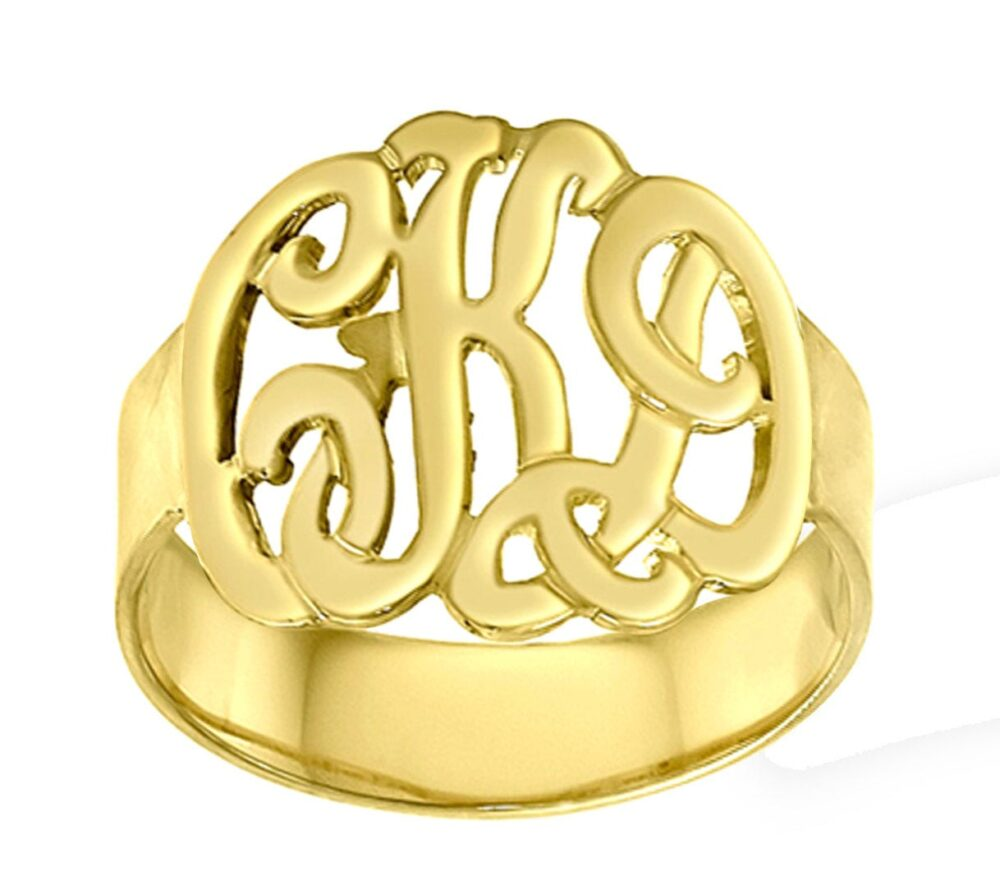 Handmade Monogram Ring -Customize It With Your Initials - 10K/14K Solid Gold, Silver Or 14K Goldfilled