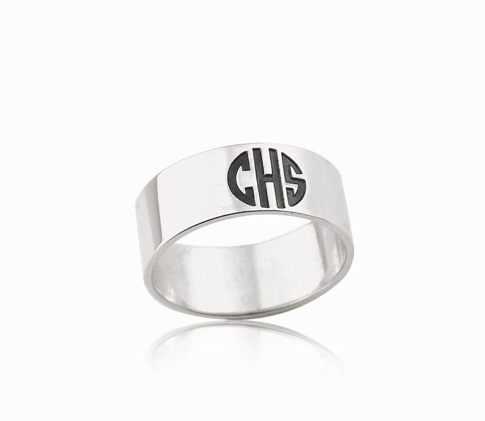 Monogram Ring, Initials Ring, Engraved Ring, Custom Ring, Personalized Ring, Block Ring, Dainty Ring