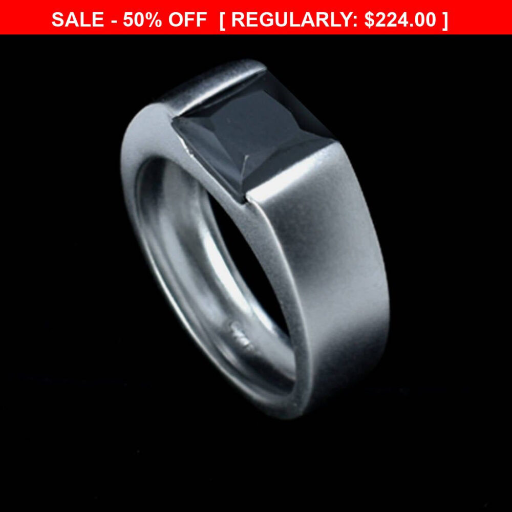 2Ct, 3Ct Certified Black Diamond Band Ring in Sterling Silver Matt Finish, Ring For Men, Birthday Gift, Friendship Ring, Best Man Gift