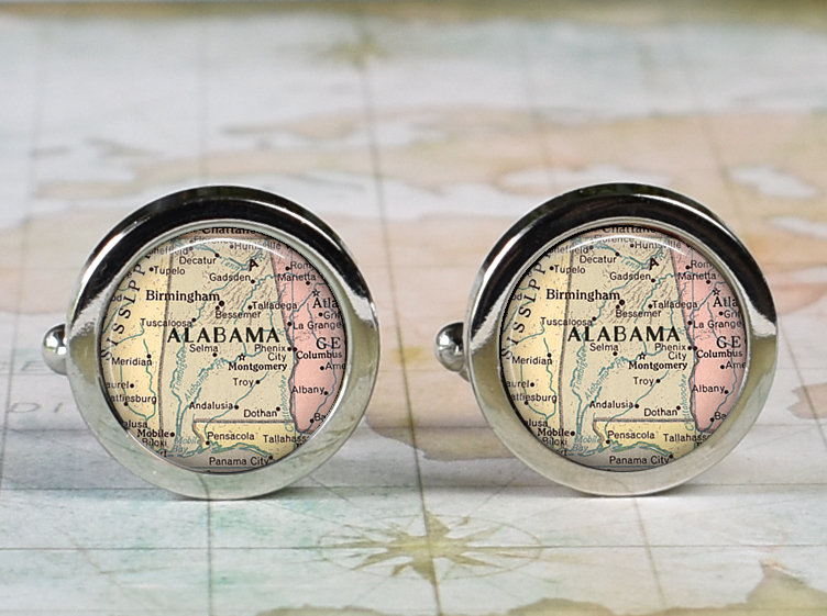 Alabama Cufflinks, State Map Cufflinks Anniversary Or Wedding Gift For Groomsmen Retirement Father's Day Dad