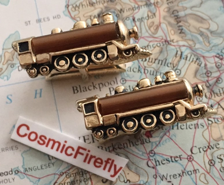 Men's Vintage Cufflinks Antique Gold Plated Steam Train Made in Usa Swank Brand Steampunk