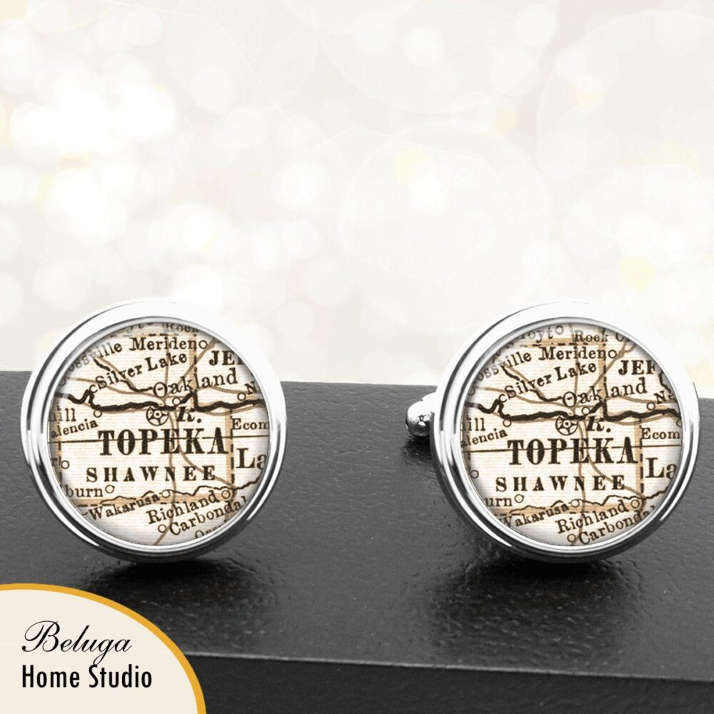 Cufflinks Kansas Map Topeka Ks Handmade Cuff Links City State Maps Groomsmen Wedding Party Fathers Dads Men