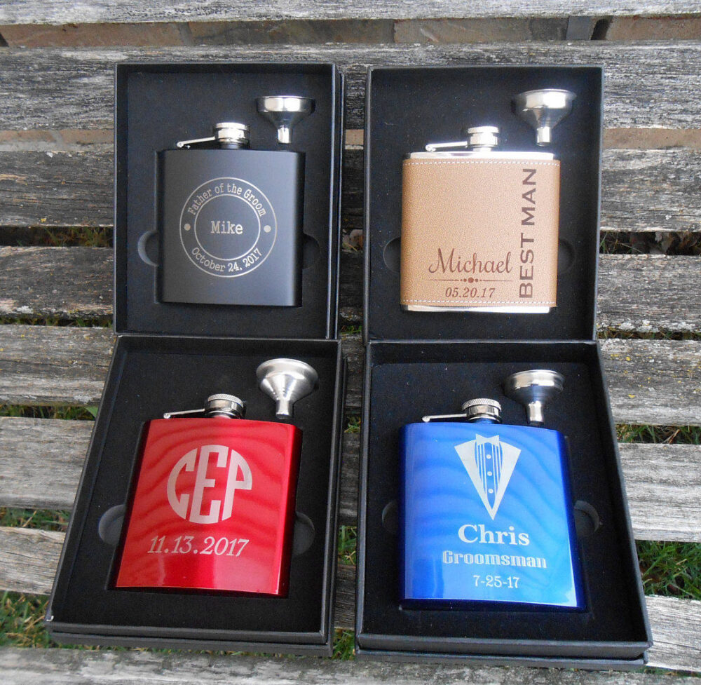 Personalized Flask. Groomsmen Gift, Dad, Father Of The Bride, Groom, Father's Day, Anniversary, Birthday, Red, Blue, Black, Tan. Wedding