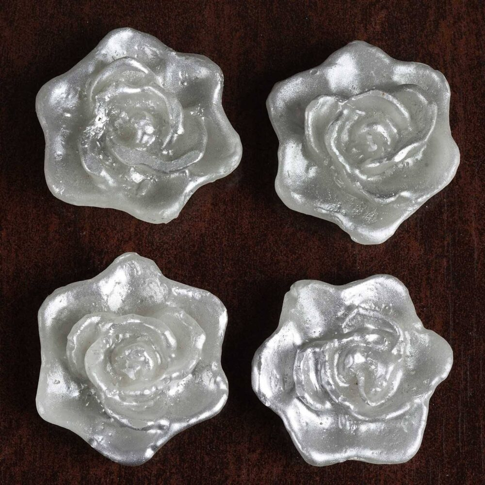 4 Pcs Silver Rose Flower Floating Candles, Candles For Table Decor, Home Candle Gift, Party Favors