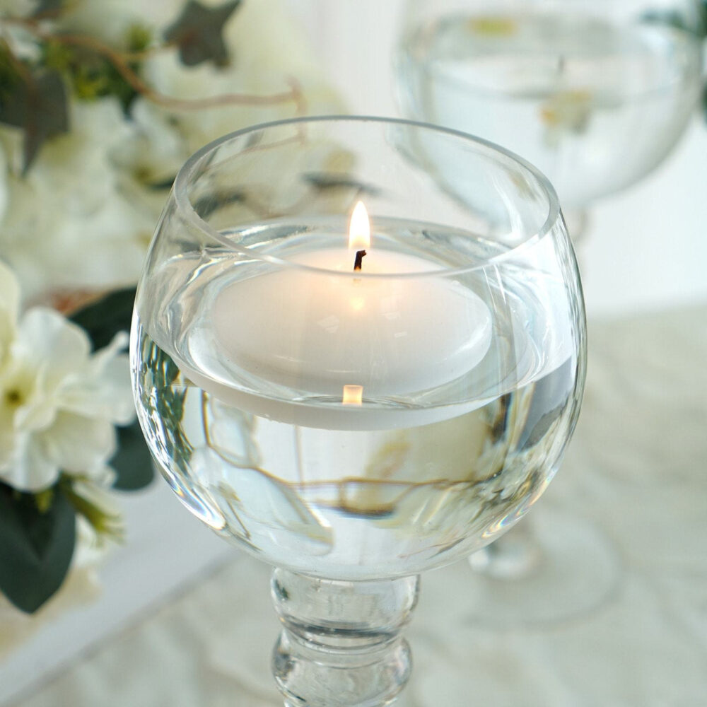 """4 Pcs 3"""" White Disc Unscented Floating Candles, Candles For Table Decor, Home Candle Gift, Party Favors"""