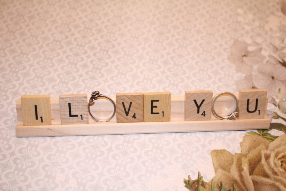 I Love You Ring Holder, Engagement Wedding Photo Props, Present Topper, Bridal Shower, Party