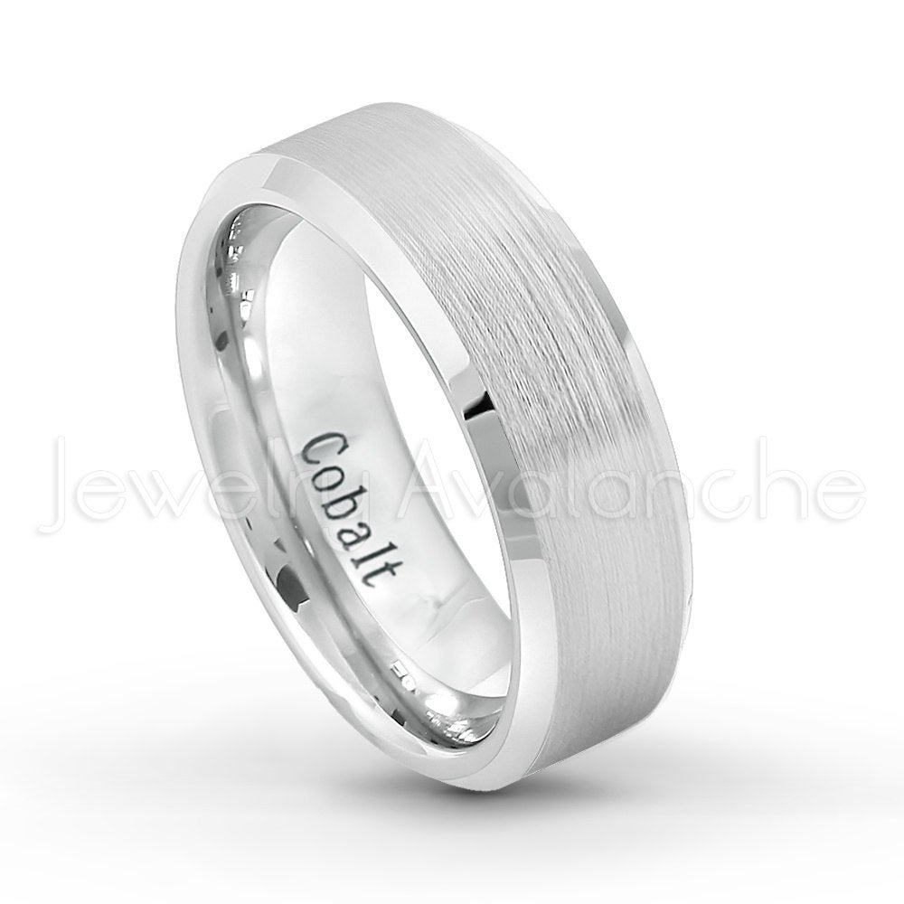 8mm Men's Cobalt Wedding Band, Brushed Finish With Beveled Edge Comfort Fit Chrome Ring, Groom's Anniversary Band Ct254