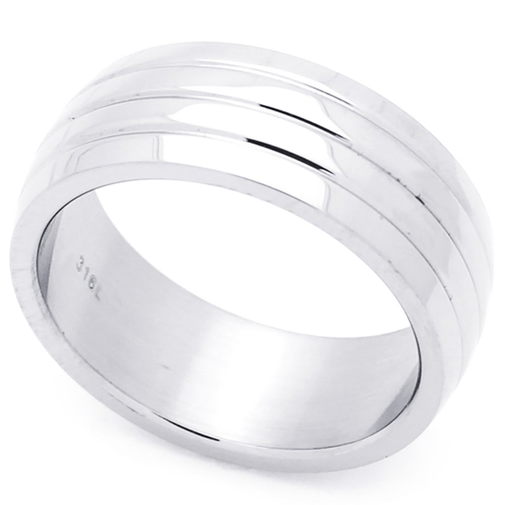 Custom Engraving Men Women Fashion 8mm Stainless Steel Ring Grooves Domed Wedding Band Ring(Dctrss228