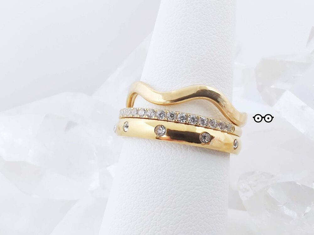 Wave Stackable Gold Band Ring Guard, 14K Filled Hypoallergenic Stainless Steel Ring, Minimalist Ocean Jacket