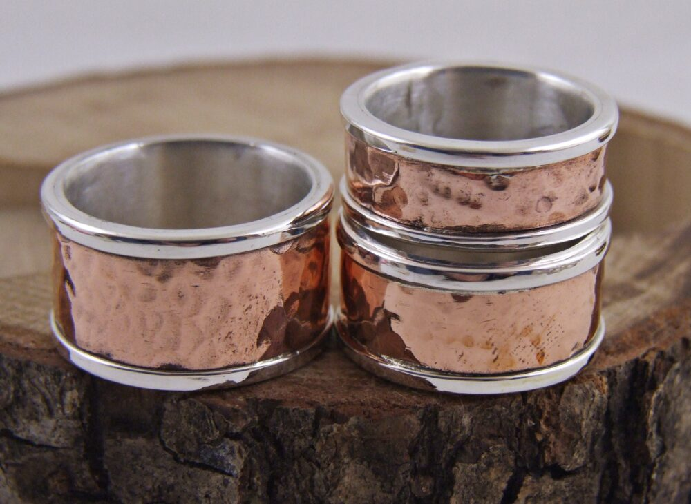Rustic Mens Hammered Wedding Band, Copper & Silver Men Women -Silver Band
