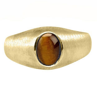Gold Pinky Ring For Men Oval-Cut Tiger Eye Gemstone, Mens Gemstone Rings, Rings Men, Jewelry, Birthstone