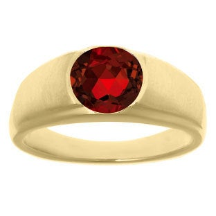 Mens Birthstone Rings - Round Garnet Ring in White Rose Yellow Black Gold Or Silver, Gemstone Rings, Jewelry
