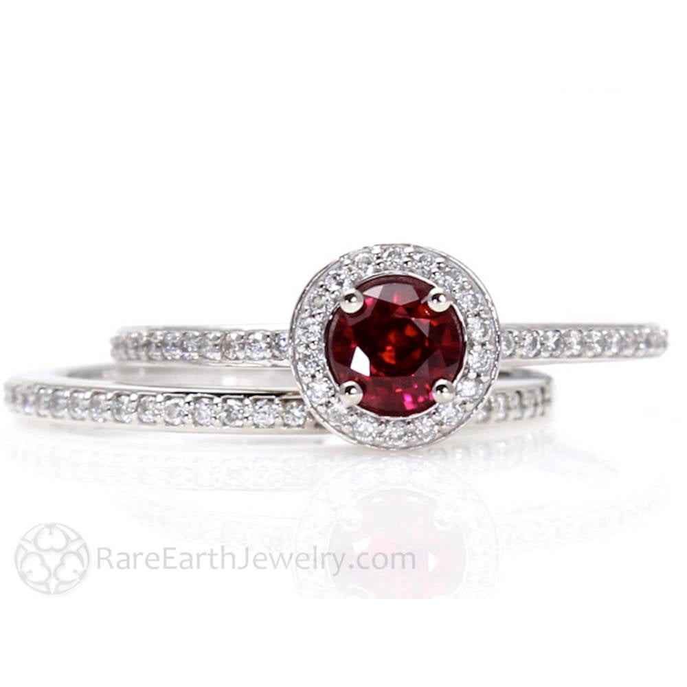 Ruby Engagement Ring & Wedding Band Diamond Halo 14K Or 18K Gold July Birthstone Bridal Set Red Gemstone