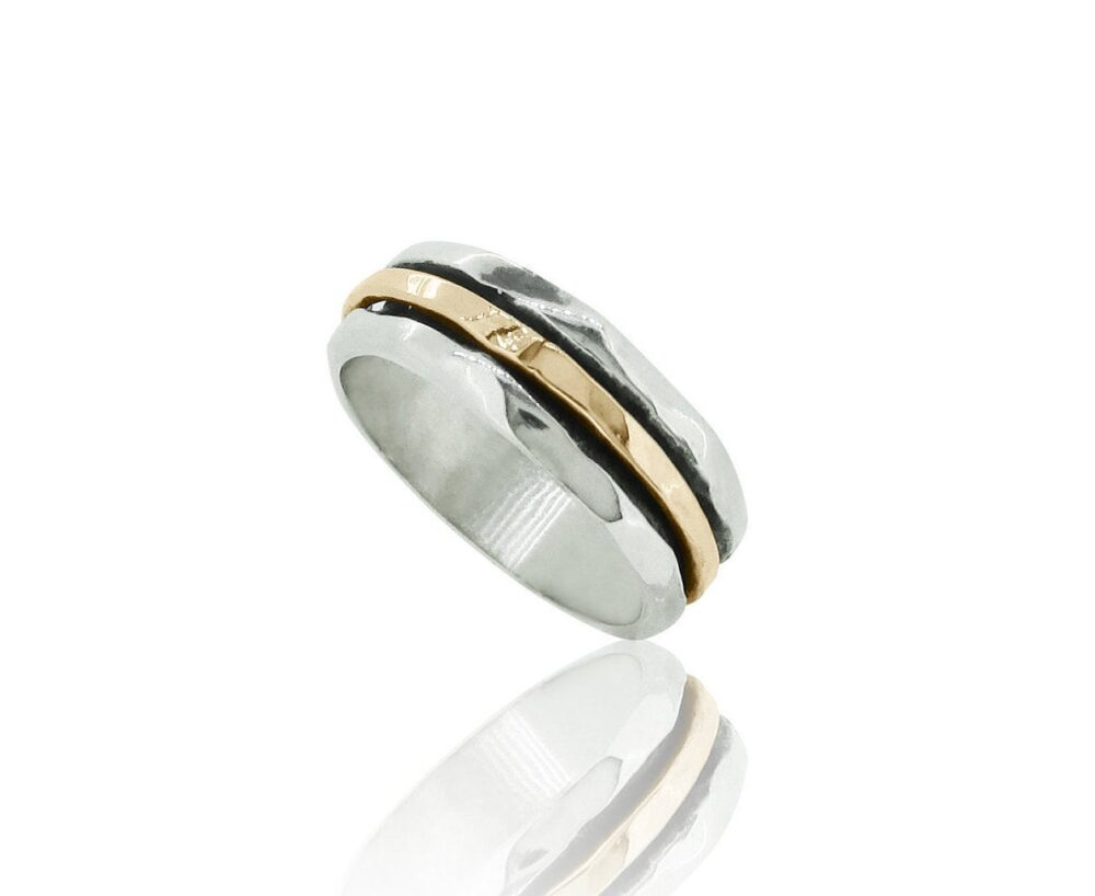 Gold & Silver Hammered Band Ring, Wedding Unisex Jewelry, Handmade Rings For Men, Spinning Meditation Rings, Thumb Ring