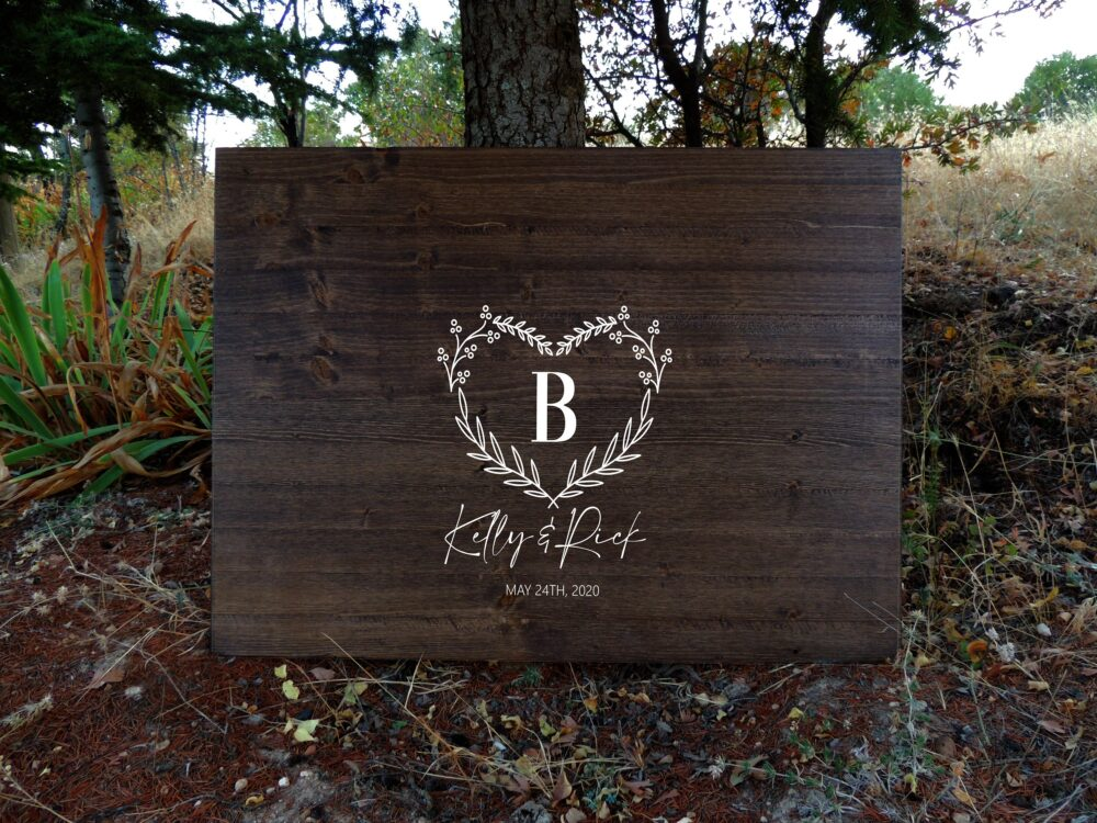 Hearth Shape Rustic Wedding Guest Book Alternative | Calligraphy Name Design Wood Sign Creative Country Gift