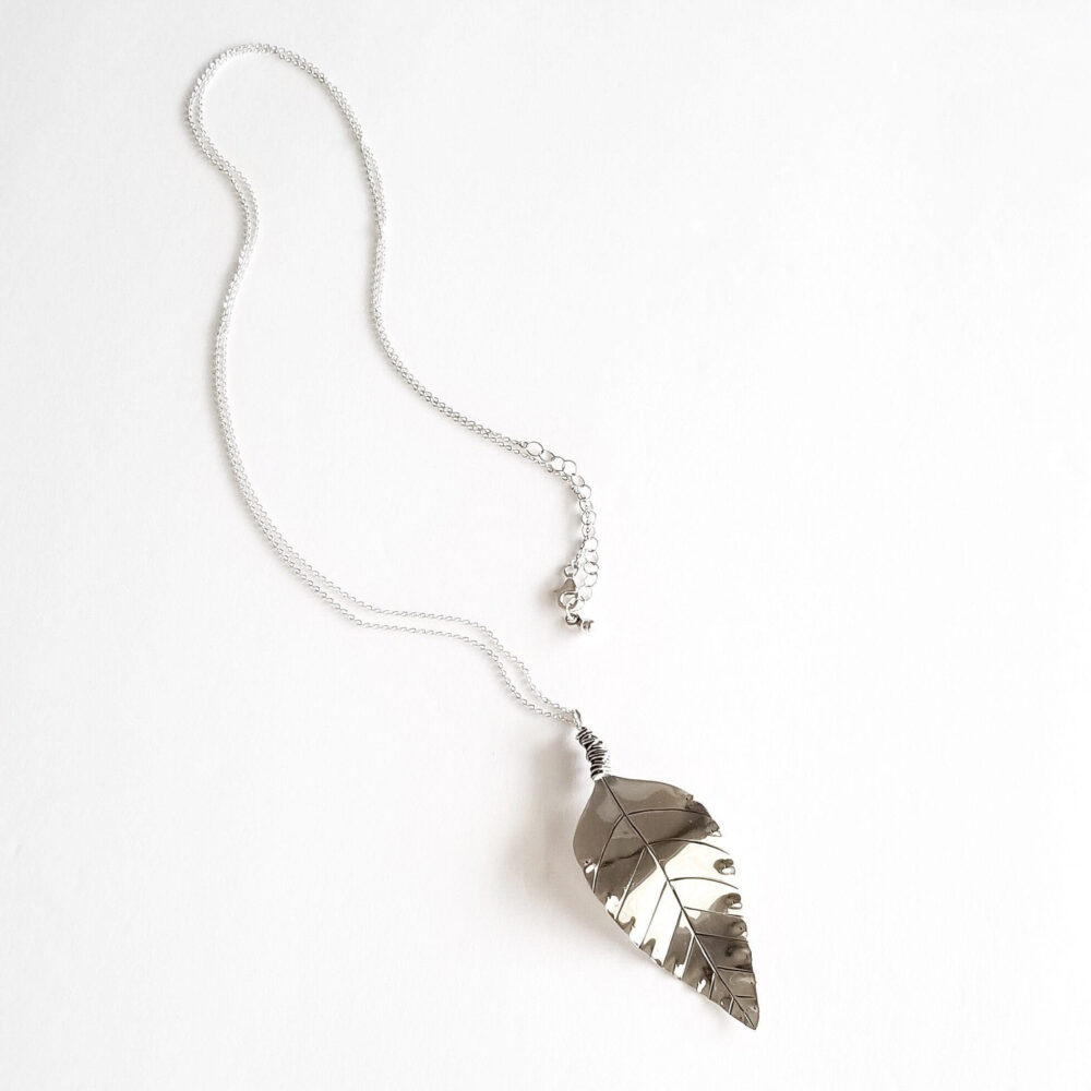 Signature Sterling Silver Long Leaf Necklace Pendant Layering Mothers Day Gift Idea Anniversary For Wife