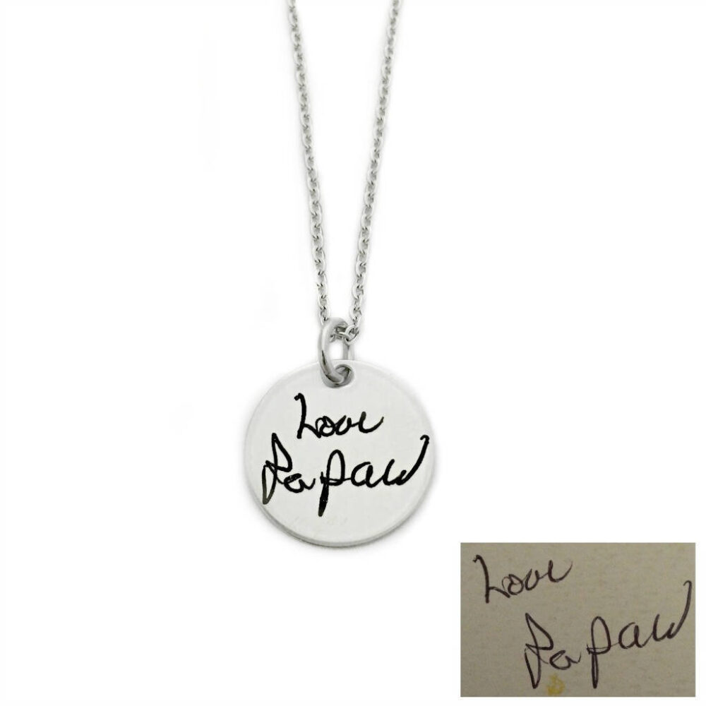 Personalized Signature Necklace - Round Actual Handwriting Pendant Stainless Steel Jewelry Memorial Keepsake Gift 1283