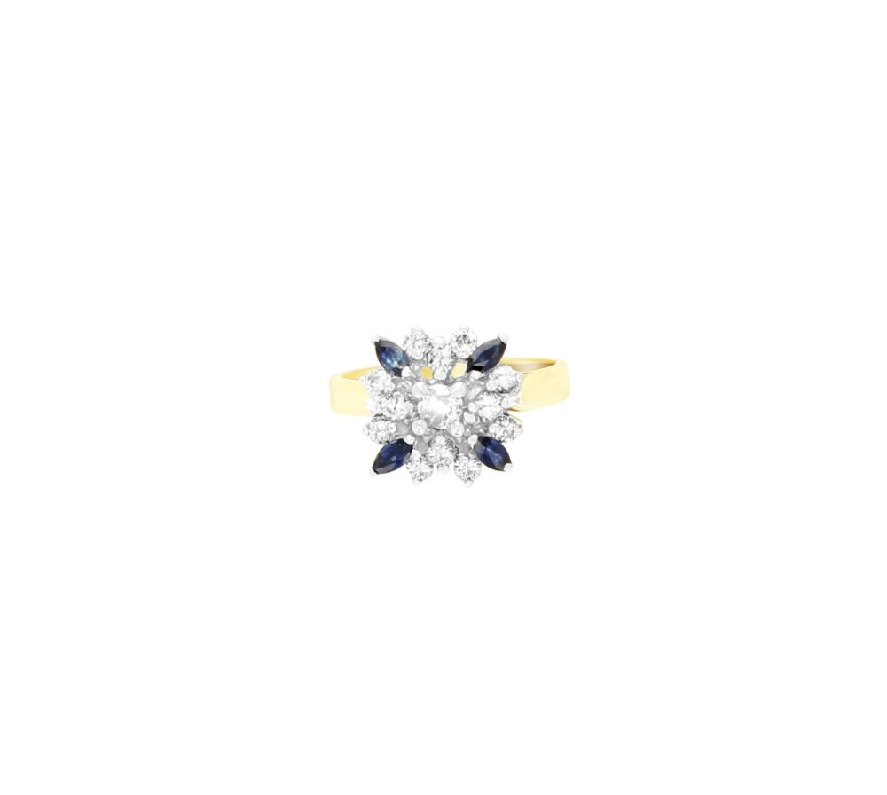 Diamond & Sapphire Flower Ring - 14K Yellow Gold Band .75Cttw Gemstone Engagement Ring, Statement Cluster Vintage Style Ring