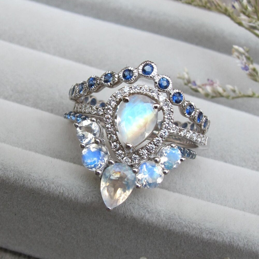 Unique Moonstone Sapphire 3 Ring Set - Pear Halo Engagement Teardrop White Gold with 2 Wedding Band