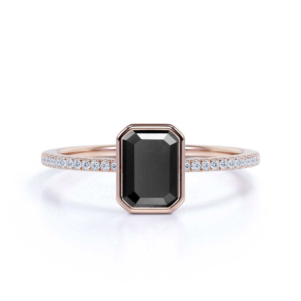 Bezel Set Black Diamond Engagement Ring in Real Rose Gold, Emerald Cut Promise Ring, Anniversary For Women, Gift Her