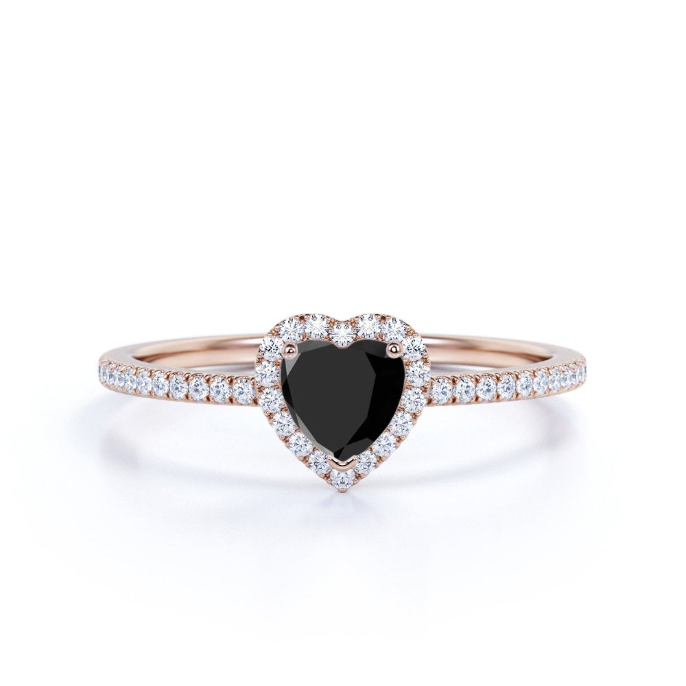 Dainty Heart Black Diamond Engagement Ring, Shape Real Halo Promise Women's Holiday Gift Unique Ring