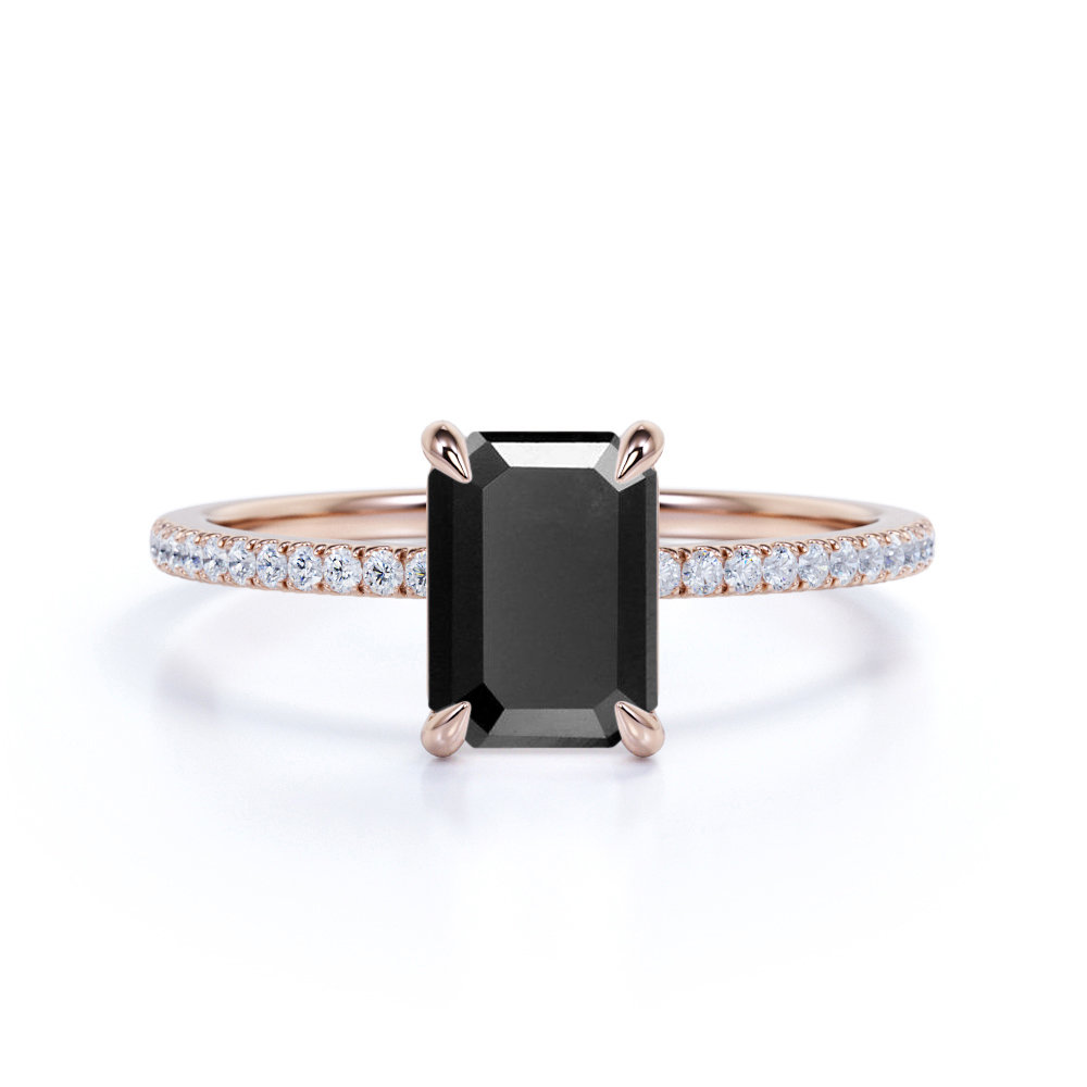 Black Diamond Engagement Ring in 14K Rose Gold, Wedding Ring, Woman's Promise Woman Holiday Gift, Unique Bridal