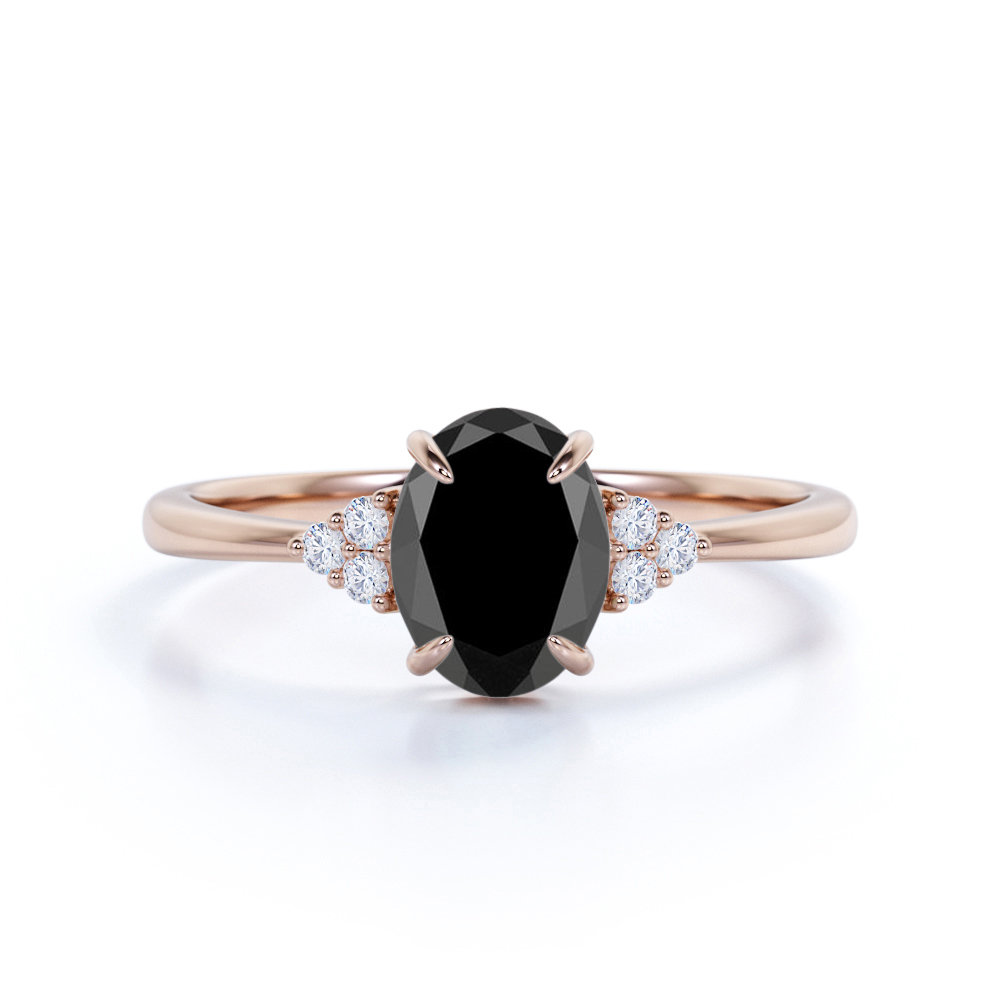 7 Stone 1.25 Carat Black Diamond Engagement Ring in Real Rose Gold, Cluster Ring, Lab Holiday Gift