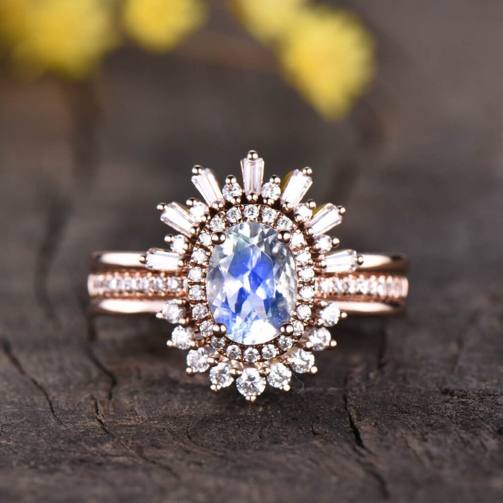 3Pcs Moonstone Bridal Set Vintage Engagement Ring Rose Gold, Baguette Cut Diamond Crown Ring, Curved Stacking Matching Band, Antique Rings