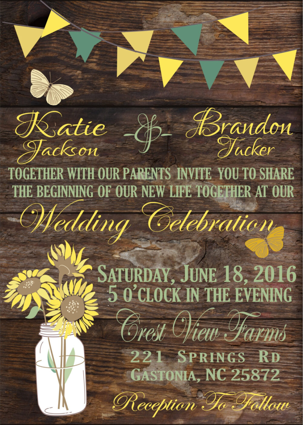 Rustic Wedding Invitation.sunflowers & Mason Jar. Suite, Rsvp. Save The Date. Fully Customizeable. Pdf. Invite. Shabby Chic