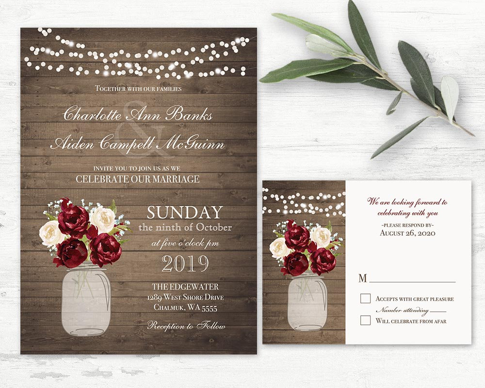 Burgundy Wedding Invitation Floral Mason Jar Invitations Printable Rustic Fall Winter Cranberry Country Invite Template Set