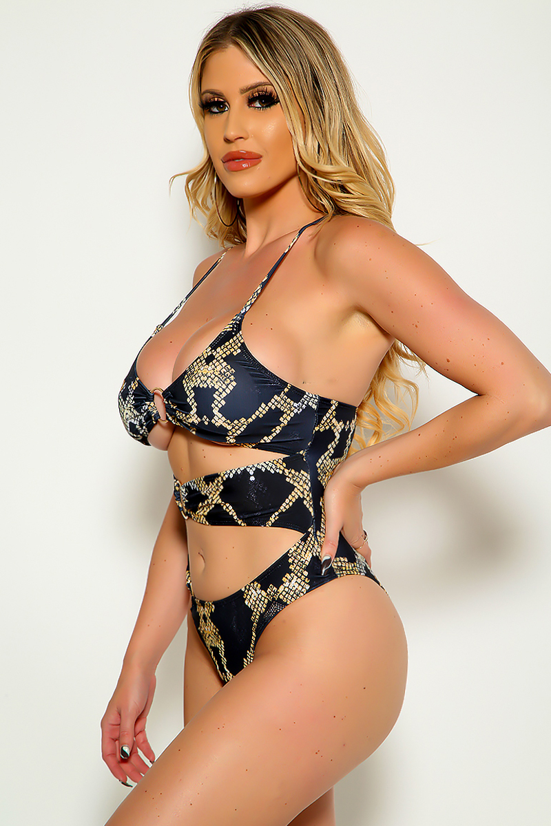 Black Snake Sleeveless O-Ring Cut Out One Piece Swimsuit