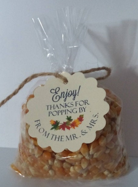 Diy Wedding Favor Popcorn Kits For Weddings Parties Thank You Favors Tags Round Scalloped Or Flourish Square Food Not Included